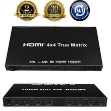 Top Quality 4x4 HDMI True Matrix Switcher 4K HDMI Switch Matrix With IR Remote Control Support