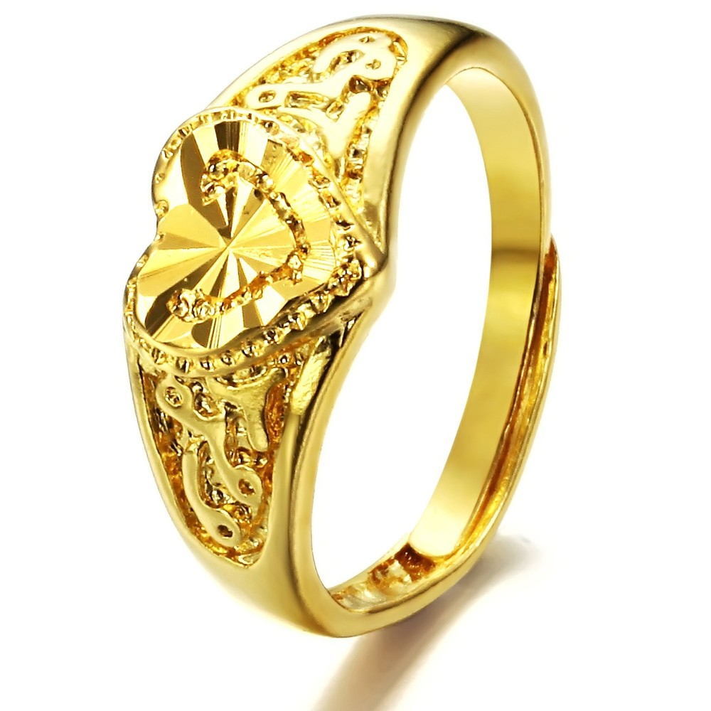 TENGYI Women Fashion jewelry Copper plating gold color rings love ...