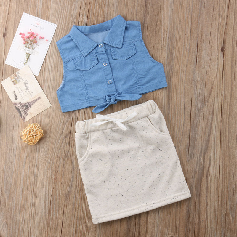 c6788234b29 Fashion Stylish Cute Lovely Summer Baby Girls Outfits Sleeveless Denim Crop  Tops & High Waist Mini Short Pencil Skirt 2PCS Set-in Clothing Sets from  Mother ...