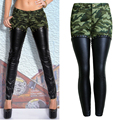 2017 Women Skinny Jeans Famale Camouflage Rivet Pencil PU Zippers Jeans Ladies Low Waist Ankle-length Pants Trousers WJNAM064
