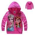 Autum Elsa Girls Coat Children Hooded Kids Snow Queen Princess Outerwear Jacket Blouson Enfant Hoodies Costume Reine des neiges