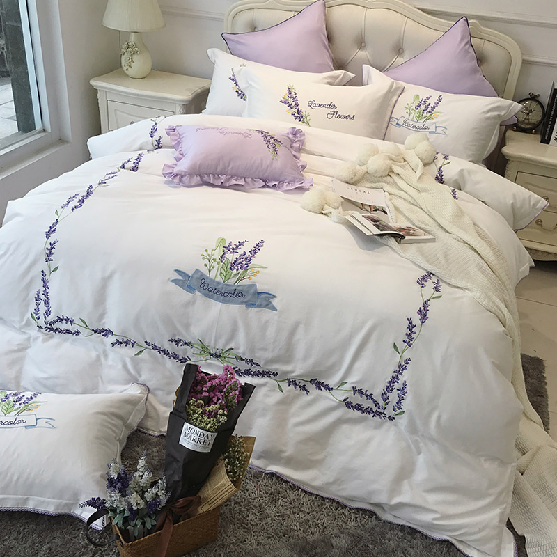 100% Egyptian cotton lavender embroidered noble Bedding sets king queen size luxury Bed set bed cover sheet set duvet cover