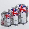 Высокое качество 20 24 28 дюймов (3 шт./компл.) пк hardside тележки для багажа, мужчина и женщина багаж мешки лондонский автобус, флаг великобритании