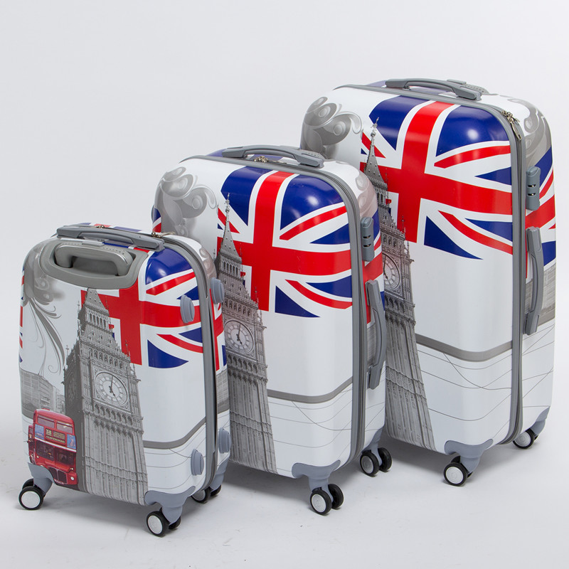 цены High quality 20 24 28inches(3 pieces/set) pc hardside trolley luggage,man and woman travel luggage bags of london bus,uk flag
