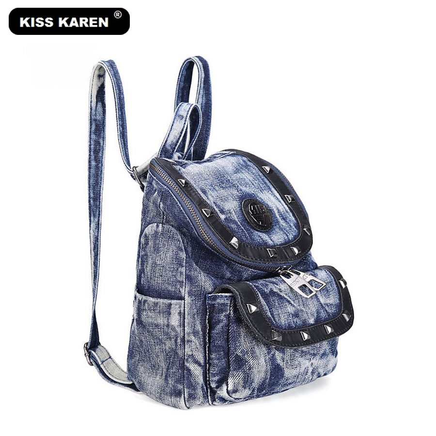 KISS KAREN Cowboy Fashion Rivets Denim Casual Daypacks Women Backpacks Jeans Backpack Bag Preppy Style Bags Travel backpacks