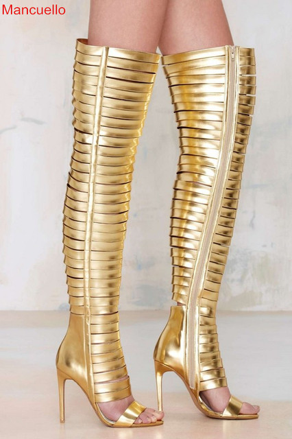 1088f882cc22 Mancuello Gold Sexy Women Summer Knee High Boots Strappy Gladiator Pumps  Rome CutOut Open Toe Sandals Clubwear Party Shoes Woman