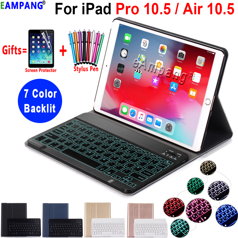 7 Color Backlit Keyboard Case For IPad Pro 10.5 Air 10.5 2019 Case A1701 A2123 Slim Leather Cover Funda With Bluetooth Keyboard