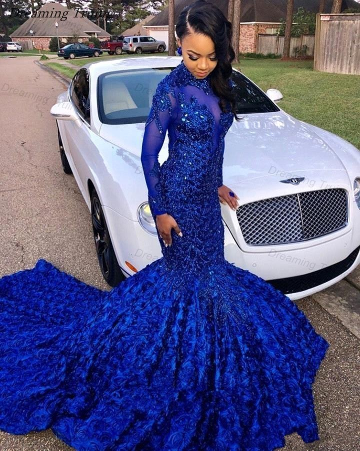 Sparkling Royal Blue Mermaid   Prom     Dresses   2019 Black Girls See Through Back African Graduation Party Gown With 3D Rose Flowers