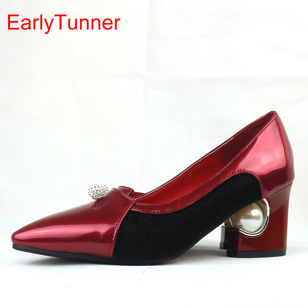 Brand New Hot Sales Women Pumps Red Sliver Apricot Black Ladies Fashion Office Shoes EY26s Med Heels Plus Big Size 12 31 48 brand new hot sales women nude ankle boots red black buckle ladies riding spike shoes high heels emb08 plus big size 32 45 11