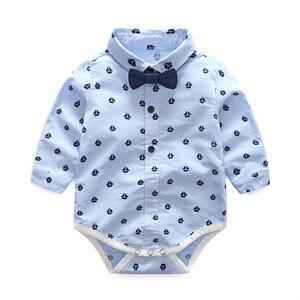 Image 3 - Одежда для маленьких мальчиков вечерние одежда комплект одежды для малышей, комплекты для новорожденных Детское платье майка + комбинезон + брюки, комплект из 3 предметов на осень и весну, комплекты одежды для детей KB8083