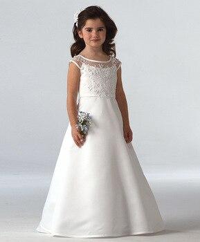 Cap Sleeves 2019 Flower Girl Dresses For Weddings A-line Satin Appliques Beaded Long First Communion Dresses For Little Girls