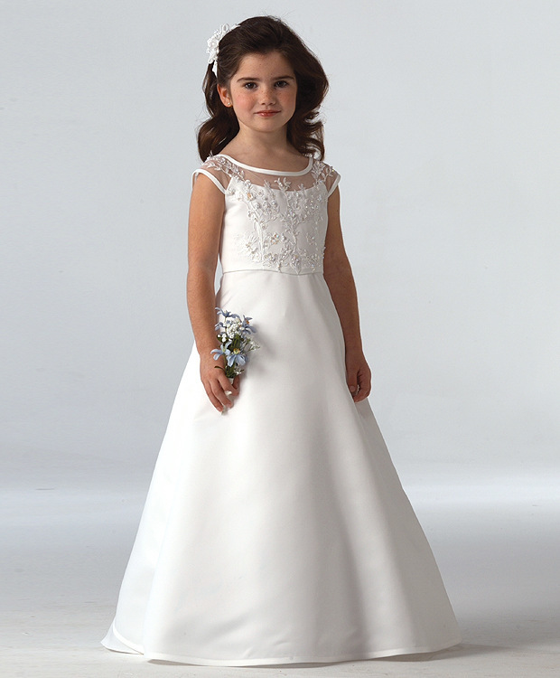 Cap Sleeves 2019   Flower     Girl     Dresses   For Weddings A-line Satin Appliques Beaded Long First Communion   Dresses   For Little   Girls