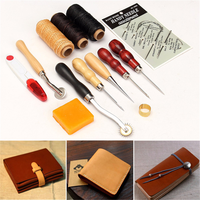13Pcs Leather Craft Hand Stitching Sewing Tool Thread Awl Waxed Thimble Kit DI
