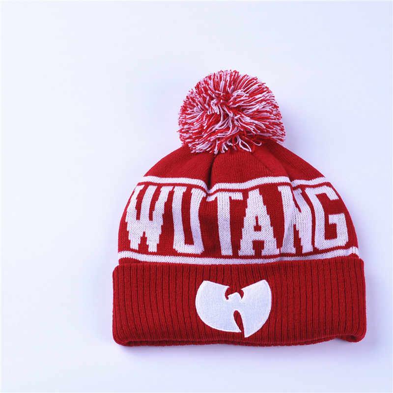 e9b658ecfdf ... High Quality Winter Wutang Letter CLAN Musice Beanie Skullies Knitted  Women Wu Tang Hat HipHop Warm ...