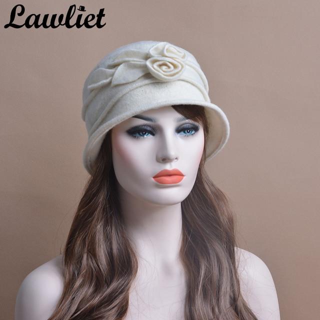 3b4e62dcd606c Lawliet Winter Hat Women Warm Beanies Wool Caps With Flower 1920s Flapper  Girl Middle Age Women
