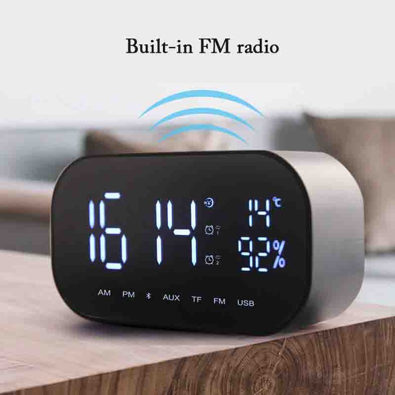 Portable Bluetooth Wireless 3.5mm Speaker Alarm Clock FM Radio Speakers Support TF Card/U Disk With Subwoofer