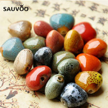 SAUVOO 30pcs/lot Vintage Big Red Blue Heart Love Creamic Glaze Charms Beads 15mm fit DIY Jewelry Making Findings Accessories(China)