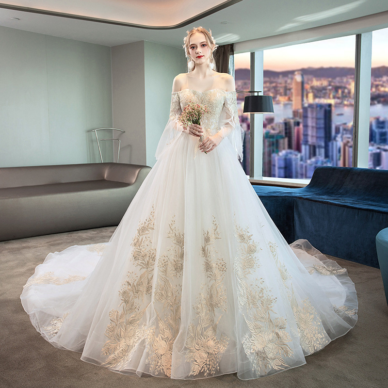 White Wedding Dress With Champagne Appliques 2019 Fall Bride Wedding Dress Off Shoulder Floor Length Long Tailing Suknia Slubna