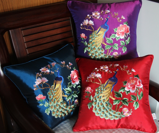 Free Shipping Classical Chinese Elegance Flowers Throw Pillow With Inner Pillow Embroidery Sain Cushion Pillow Chair Decorative Jade White Home & Garden