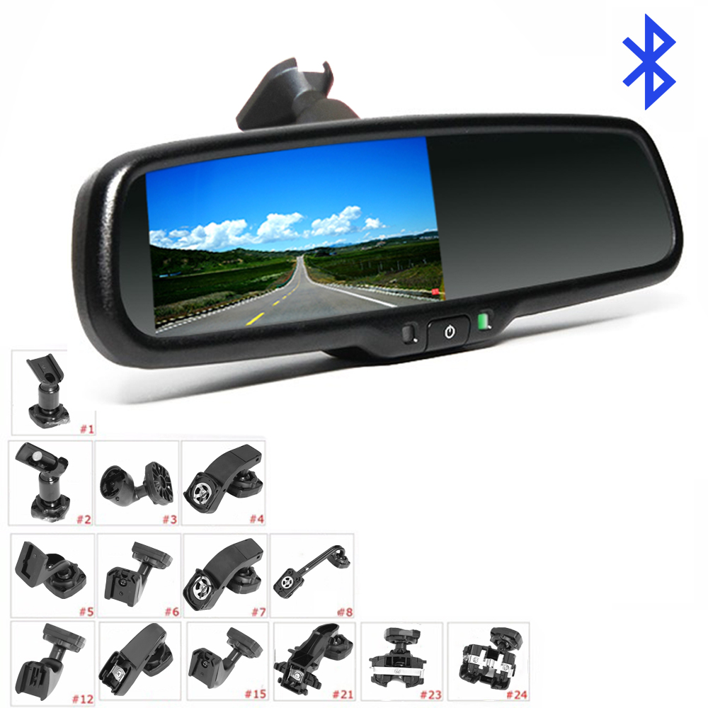 KOENBANG Replacement 4.3 TFT LCD Car Rear View Mirror Monitor Bluetooth Car Kit Parking Assistance With 2 RCA Video Input
