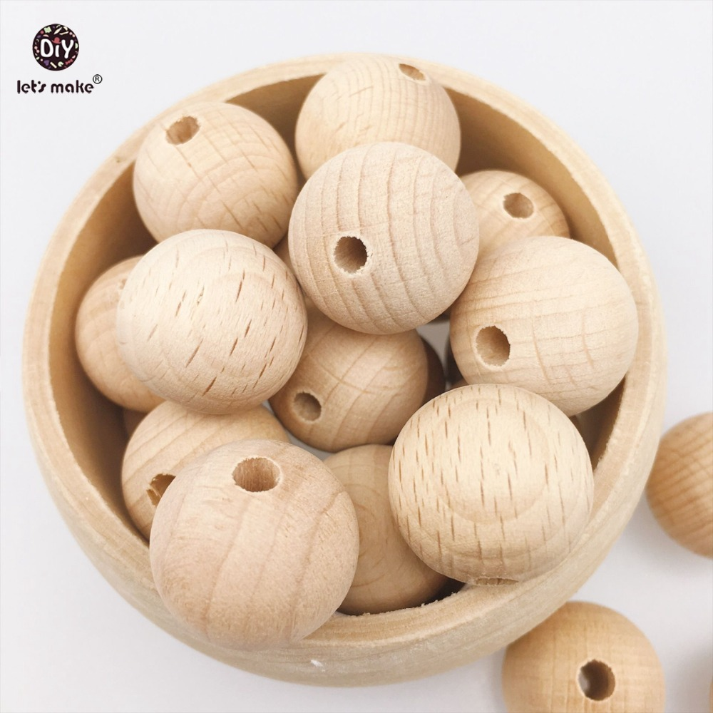 Lets make Wooden Teether Chew Beads 200pcs Round Beech Beads Nursing Necklace/Bracelet DIY Toys Baby Teether