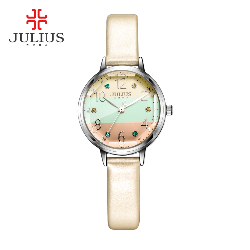Lady Women's Watch Japan Quartz Fine Fashion Hours Dress Bracelet Simple Colorful Leather School Girl Birthday Gift Julius Box new simple cutting glass women s watch japan quartz hours fashion dress stainless steel bracelet birthday girl gift julius box