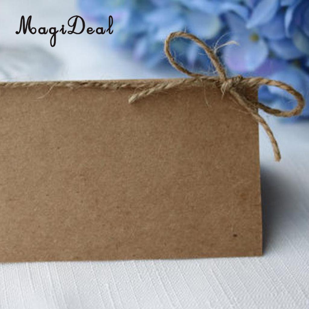MagiDeal Delicate 50x Kraft Papier Blank Ort Name Karte Rustikalen Hochzeit Tisch Karte Schnur Bogen
