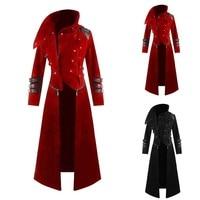 Casual Solid Hooded Abrigo Hombre Button Long Trench Coat Men Vintage Stand Collar Steampunk Men Zipper Long Sleeve Coat Men