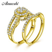 AINUOSHI 14K Solid Yellow Gold Bridal Ring Set Cluster SONA Diamond Halo Ring Wedding Jewelry Trendy Engagement Rings for Women