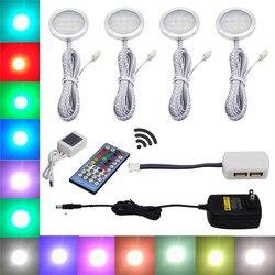 Aiboo RGBW RGB + إضاءة LED بيضاء تحت الكابين 4 مصابيح عفريت مع جهاز التحكم عن بعد عكس الضوء لتزيين المطبخ الإضاءة