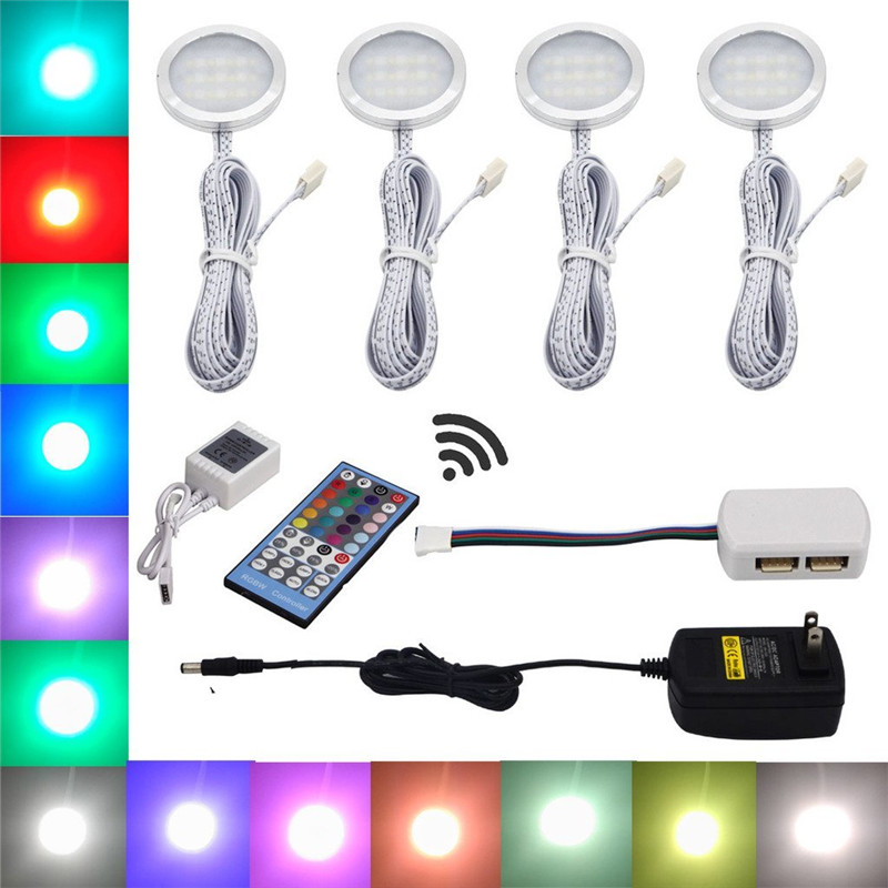 Aiboo RGBW RGB+White <font><b>LED</b></font> Under Cabinet Lights 4 Puck Lights with Remote Control Dimmable for Kitchen Decoration Lighting image
