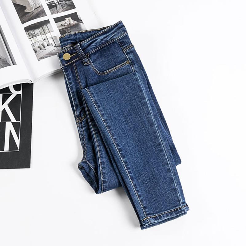 2019 Casual High Waist Skinny Pencil   Jeans   Woman Plus Size blue Black Mom Stretch   jeans   Ladies women   jeans   Pants   jeans   femme