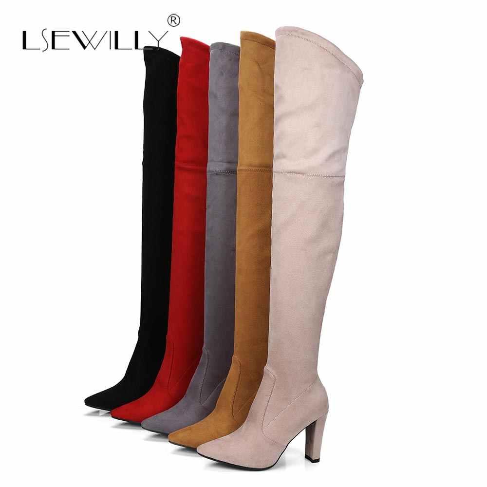 Lsewilly Faux daim femmes bottes Sexy Stretch slim au-dessus du genou bottes femme automne hiver cuissardes bottes chaussures femme S520