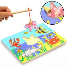 Cute Ocean Animal Crab Fish Baby Puzzle Preschool Infant Magnetic Fishing Wooden Toy 3D Jigsaw Children Educational Gift