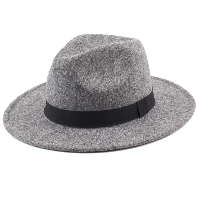 efdc4ef8eb9a3 2019 Women s Wide Brim Fedora Hat Men Unisex Felt Trilby Hats Wide Brim  Adjustable Fedora Jazz Hat Caps Woolen Felt Vintage Hats