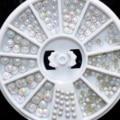 Размер смешивания AB Жемчуг Украшения Искусства Ногтя Голо Камни Плоской Задней Круглый Белый Дизайн Ногтей Бисер Колеса N44