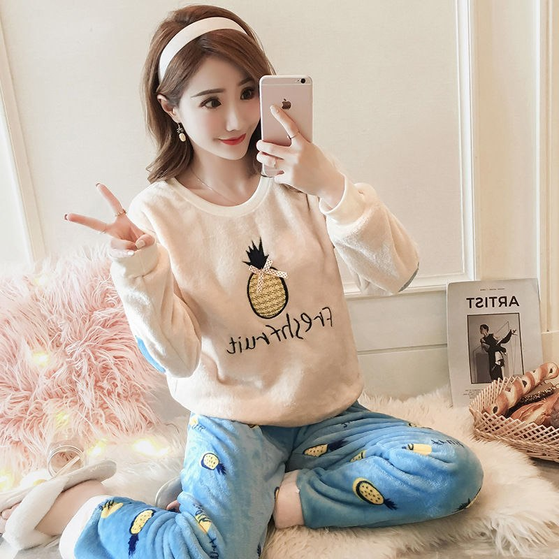 High Quality Women Pajama Sets Winter Soft Thicken Cute Cartoon Flannel Sleepwear 2 pcs/Set Tops + Warm Pants Home Clothes Mujer 94