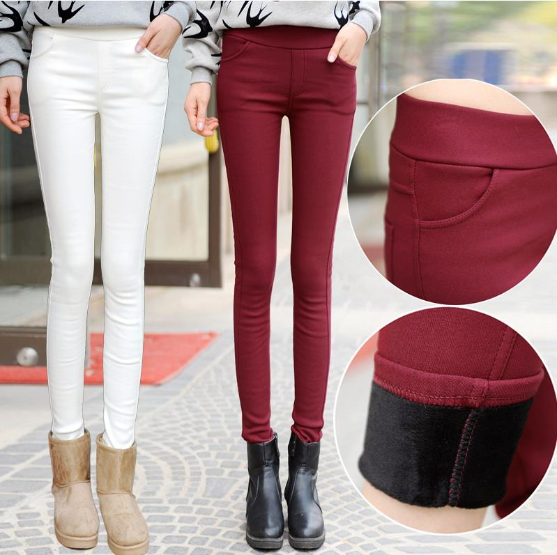 Spring High Waist Velvet Leggings Women's Pants White Black Bodycon Trousers for Women 2019 Autumn Thicken Warm Pencil Pants 4XL