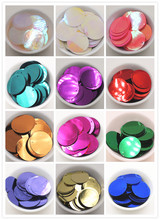 150pcs 30mm Large Round flat Sequins PVC Loose Paillettes For Crafts  Free shipping