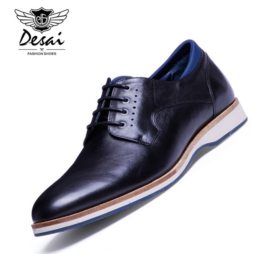 DESAI Brand 2017 Spring Genuine Leather Men Casual Shoes Black Fashion Comfortable Men Shoes Lace-Up Shoes Size 38-43 2017 new spring imported leather men s shoes white eather shoes breathable sneaker fashion men casual shoes