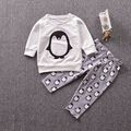Newborn baby boy clothing set Cute penguin cotton long-sleeved letter T-shirt trousers 2pcs baby girl clothes set 0-24 Month