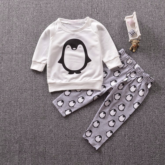 4e1558b55a65 Newborn baby boy clothing set Cute penguin cotton long sleeved ...