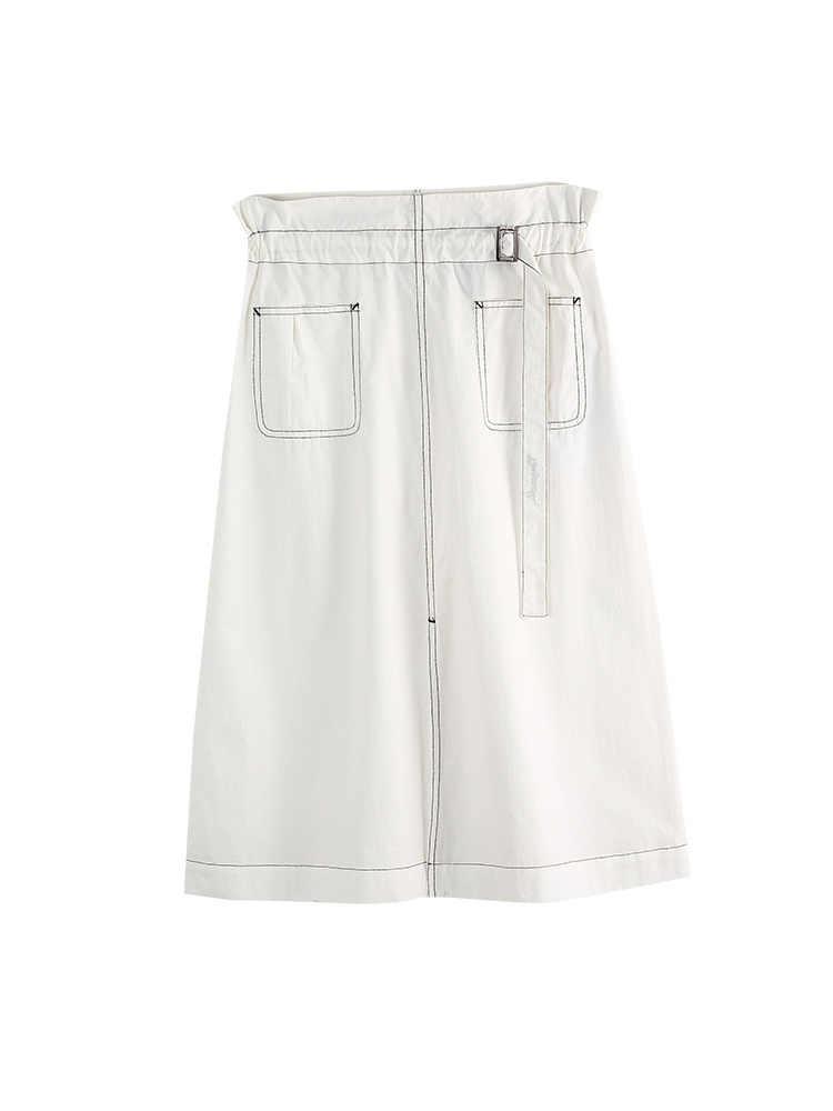 Toyouth Midi długa spódnica Denim kobiet otwarty podział koreański elegancki wysokiej talii urząd Lady jeden krok pracy nosić spódnica kobiet spódnica