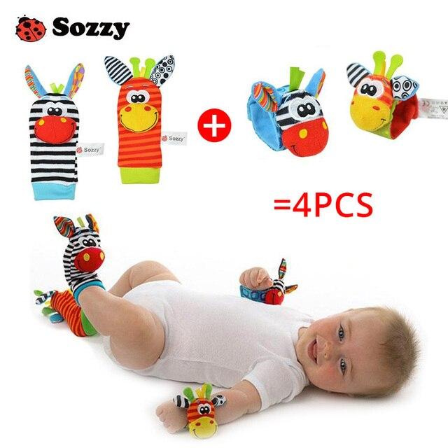 Baby Infant Cartoon Socks Wrist Rattle Set 4 piece Zebra New Sozzy Educational Best Newborn Gift Toys for Children Boy Girls