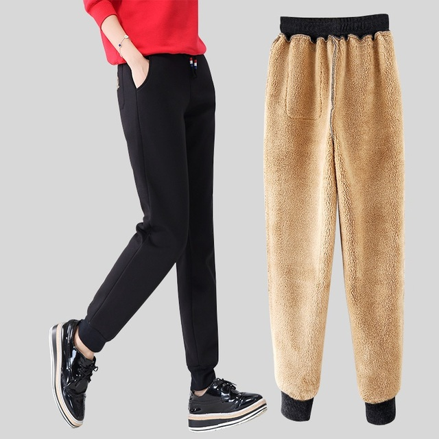 Winter Women Fleece Pants Sweatpants Women's Casual Stretch Feet Thick Velvet Warm 5XL Pants Trousers Sportswear For Female 0918