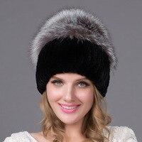 2018 Women's Genuine Rex Rabbit Fur Hats Winter Rex Rabbit Fur Beanies Striped Head Top fox Fur Warm Real Fur Knit Caps