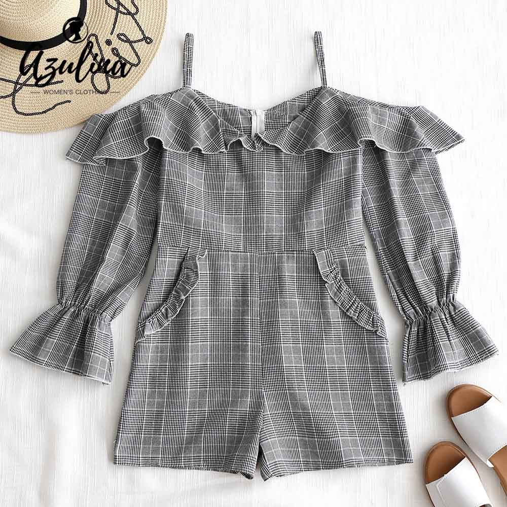 AZULINA Off The Shoulder Checked Romper Women Playsuits Summer Plaid Long Sleeves Elasti ...