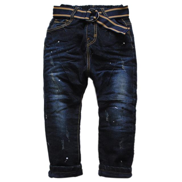 6021 denim y polar caliente cruz muchacho muchachos pantalones de Harén pantalones vaqueros calientes del invierno Grueso elástico de la cintura de dos pisos pequeño agujero