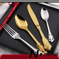 New England style Retro Court Tableware 4 pieces set Fork Knife Spoon Gold Silver Color Christmas Gift Box