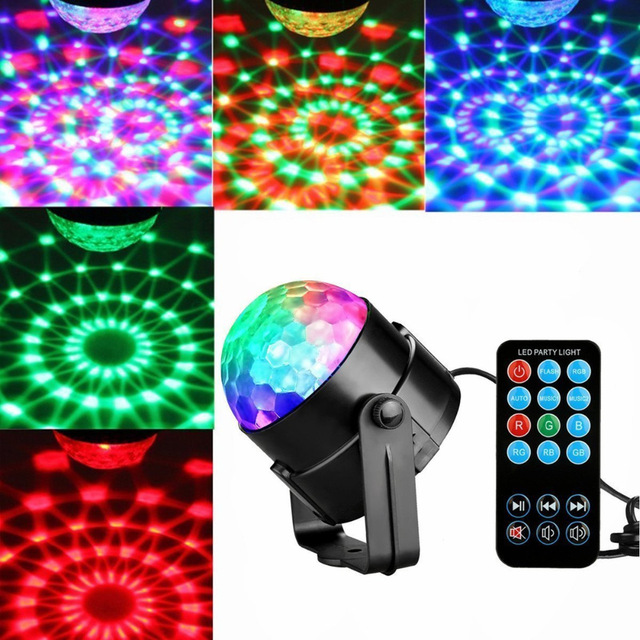 Mini 3W DJ Light RGB Color Changing Sound Actived Crystal Magic Disco Ball Led Stage Lights for KTV Xmas Wedding Party Light 3w rgb led projector dj light disco ball led par crystal magic ball bar party xmas effect stage lights free shipping